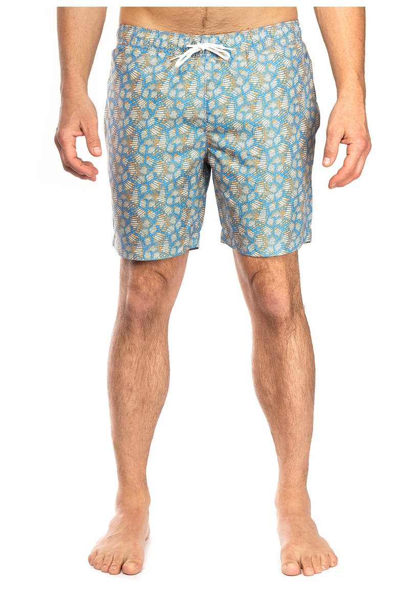 CONSTRUCT Gold Mosiac Print Swimming Trunks, Main, color, GOLD BLUE