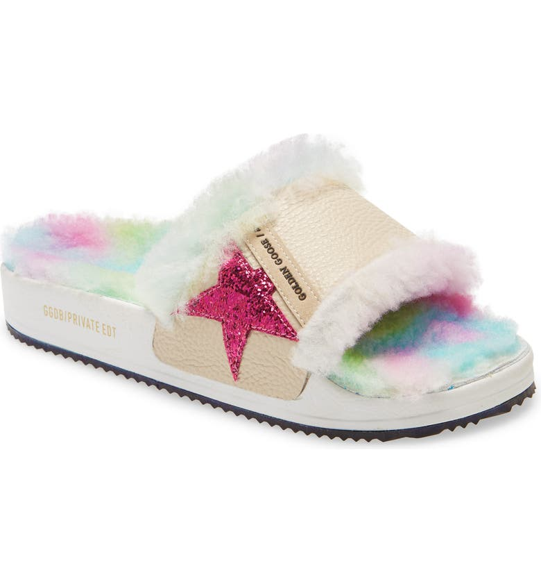 GOLDEN GOOSE Poolstar Genuine Shearling Slide Sandal, Main, color, BEIGE/ FUCHSIA/ MULTICOLOR