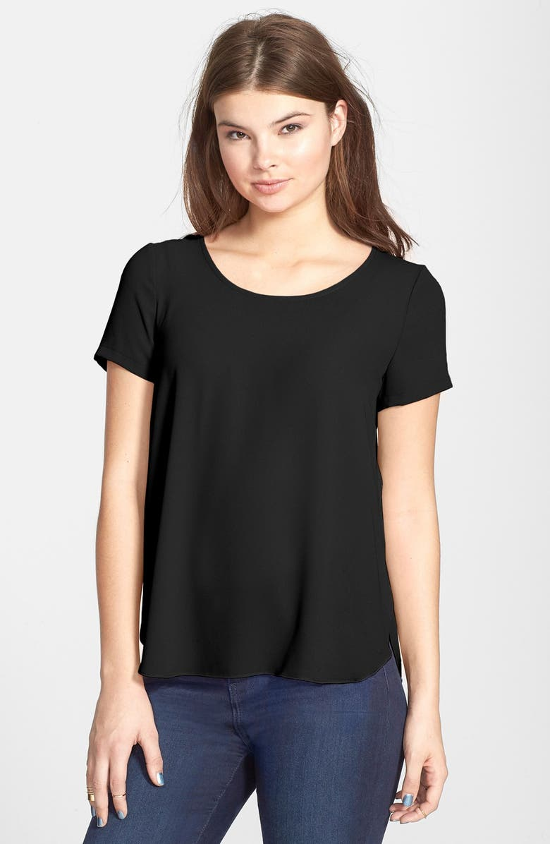 --- Lily Side Slit Woven Tee, Main, color, 001