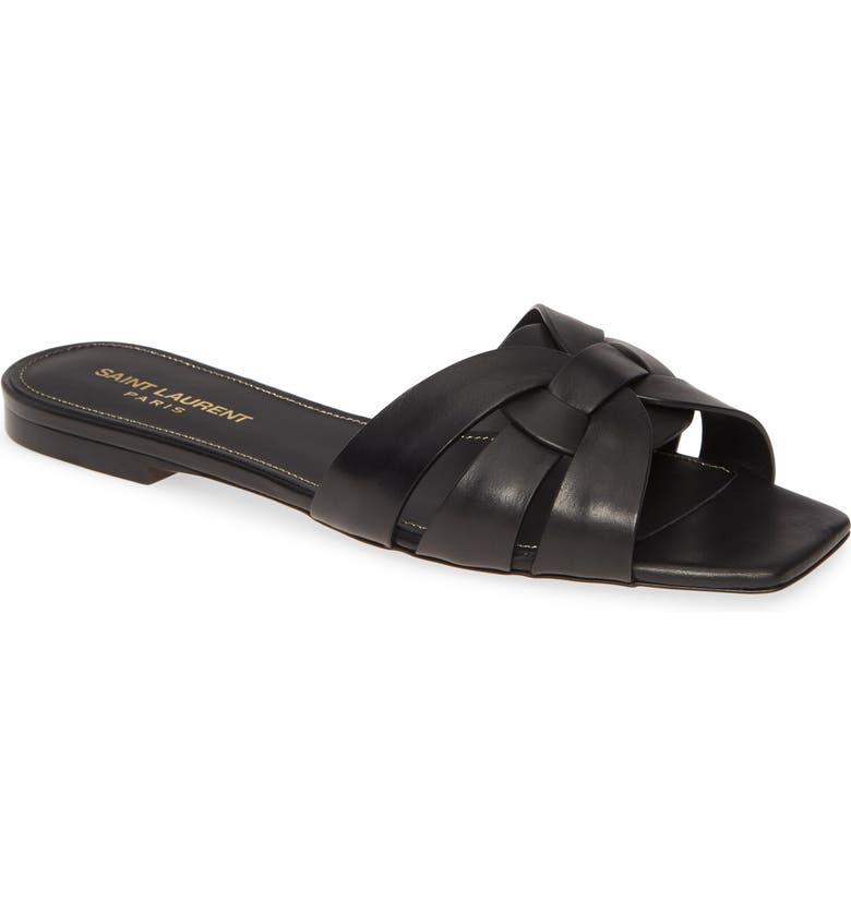 SAINT LAURENT Tribute Nu Pieds Slide Sandal, Main, color, BLACK LEATHER
