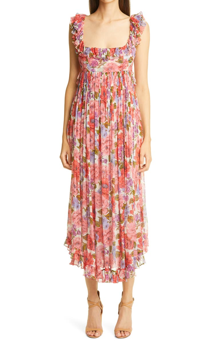ZIMMERMANN Poppy Floral Silk Dress, Main, color, 600