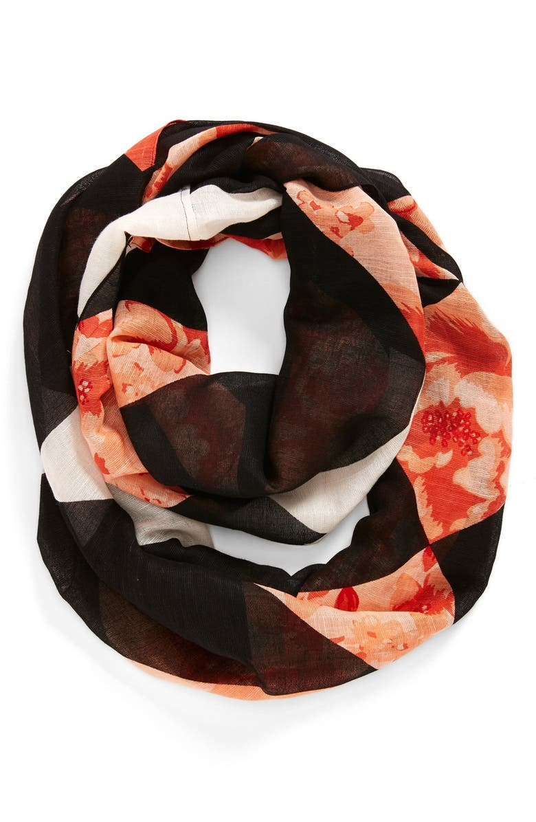 HALOGEN<SUP>®</SUP> Floral Print Infinity Scarf, Main, color, BLACK/ CORAL
