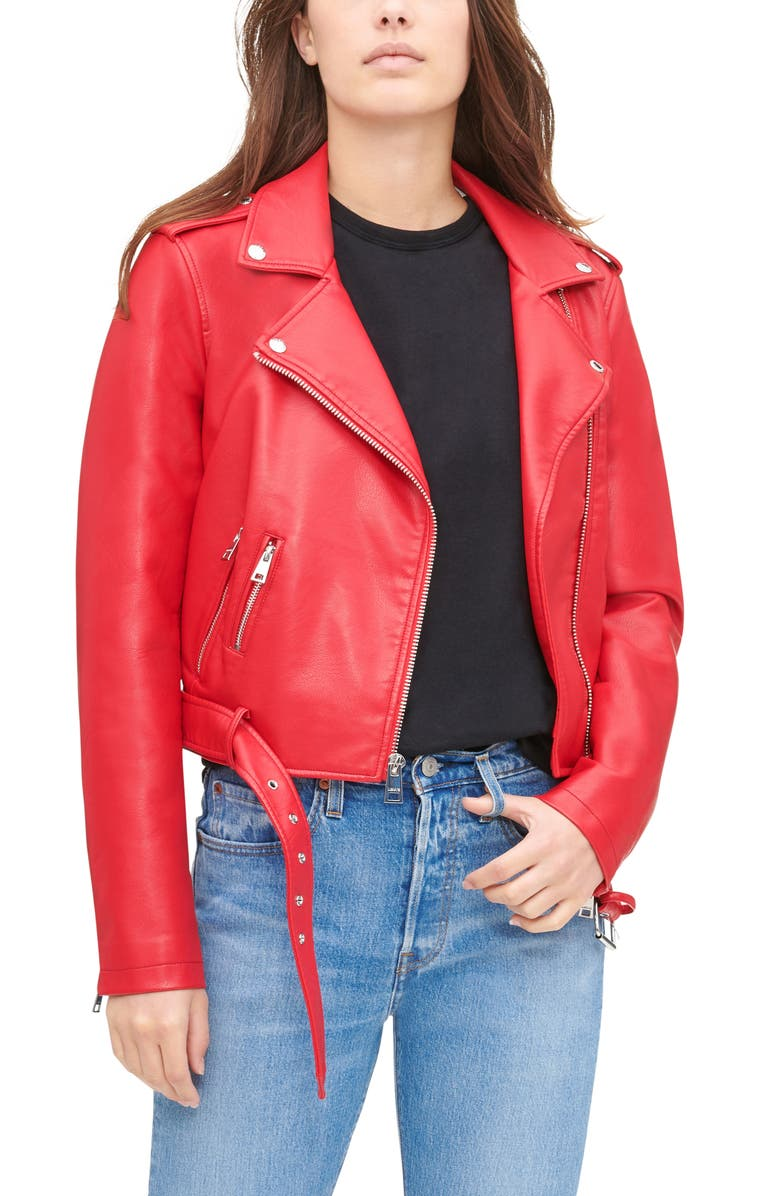 LEVI'S<SUP>®</SUP> Faux Leather Fashion Belted Moto Jacket, Main, color, RED