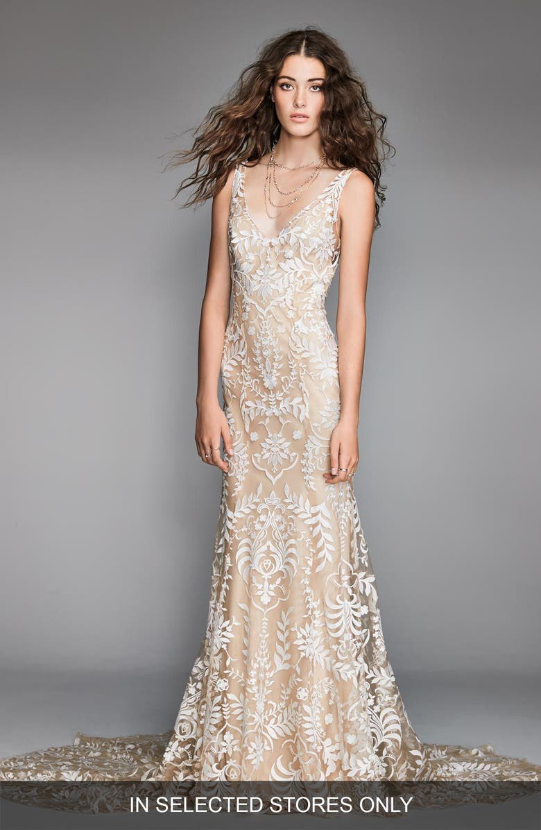 WILLOWBY Corella Embroidered Trumpet Wedding Dress, Main, color, 250