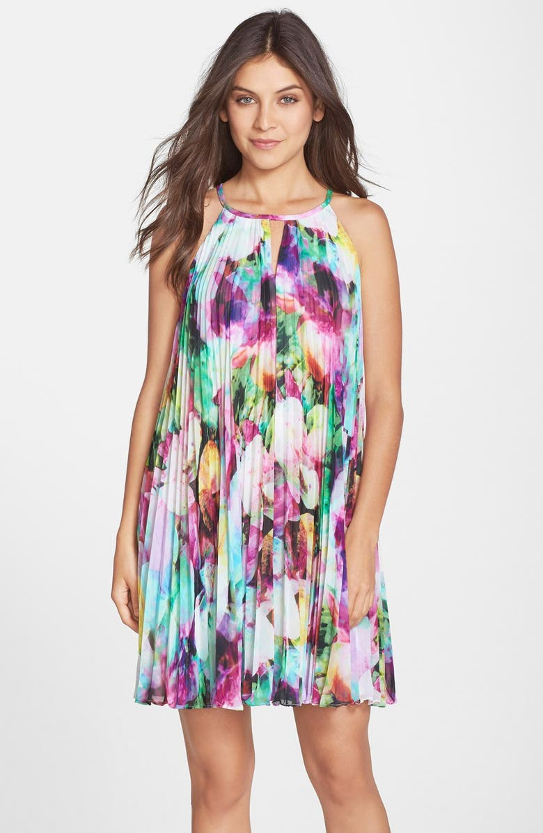 MAGGY LONDON Floral Print Chiffon Pleated A-Line Dress, Main, color, PINK MULTI