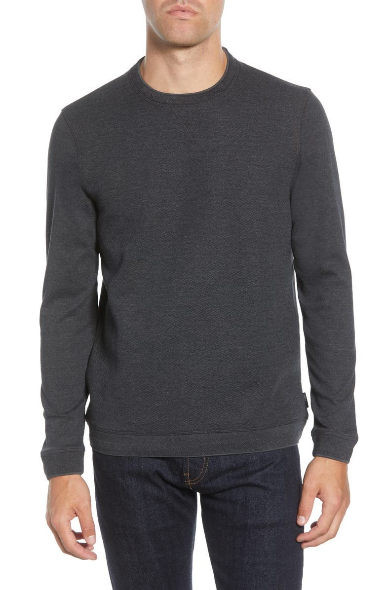 TED BAKER LONDON Tricks Slim Fit Quilted Jersey Sweatshirt, Main, color, CHARCOAL