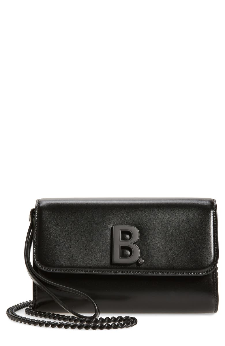 BALENCIAGA Leather Wallet on a Chain, Main, color, 001
