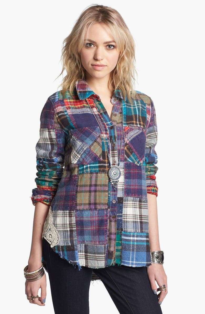 FREE PEOPLE 'Lost in Plaid' Patchwork Shirt, Main, color, PLAID MULTI