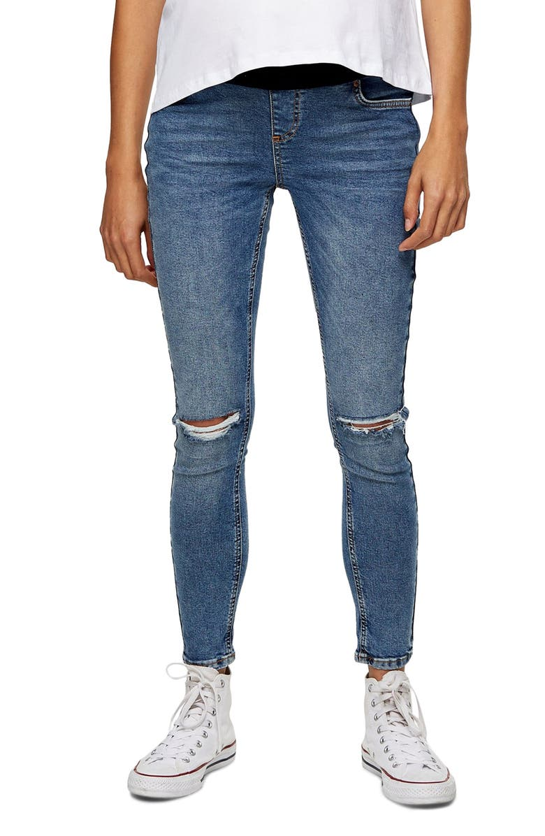 TOPSHOP Jamie Under the Bump Ripped Maternity Skinny Jeans, Main, color, 420