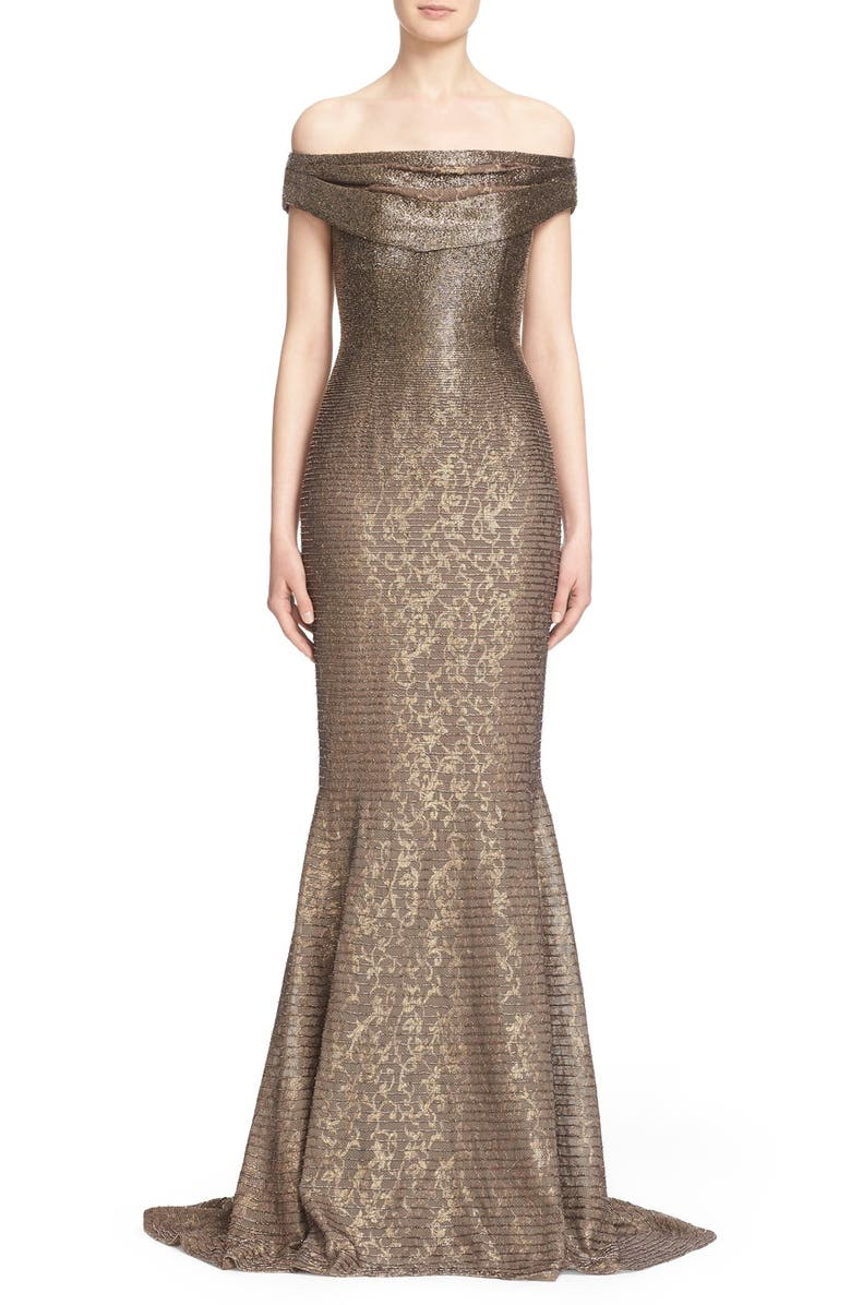 CARMEN MARC VALVO COUTURE Beaded Off the Shoulder Lace Mermaid Gown, Main, color, MINK