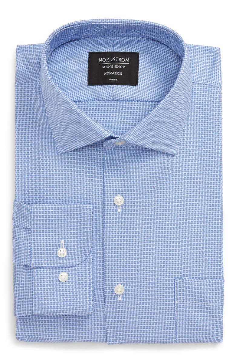 NORDSTROM Men's Shop Trim Fit Non-Iron Solid Dress Shirt, Main, color, 420