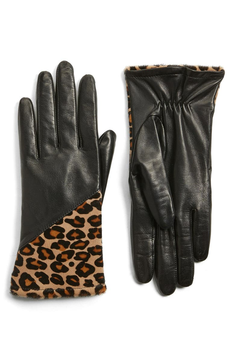 FOWNES BROTHERS Leather & Genuine Calf Hair Gloves, Main, color, 001