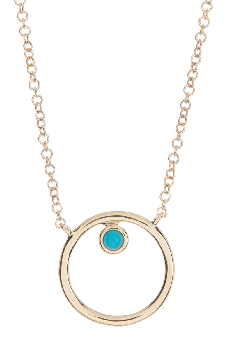 RON HAMI 14K Yellow Gold Turquoise Geometric Pendant Necklace, Main, color, YELLOW GOLD/TURQ