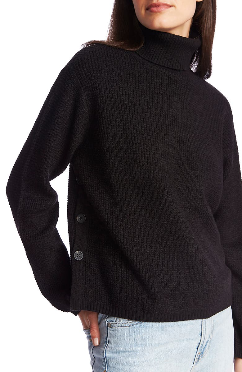 1.STATE Side Button Waffle Weave Turtleneck Sweater, Main, color, 006