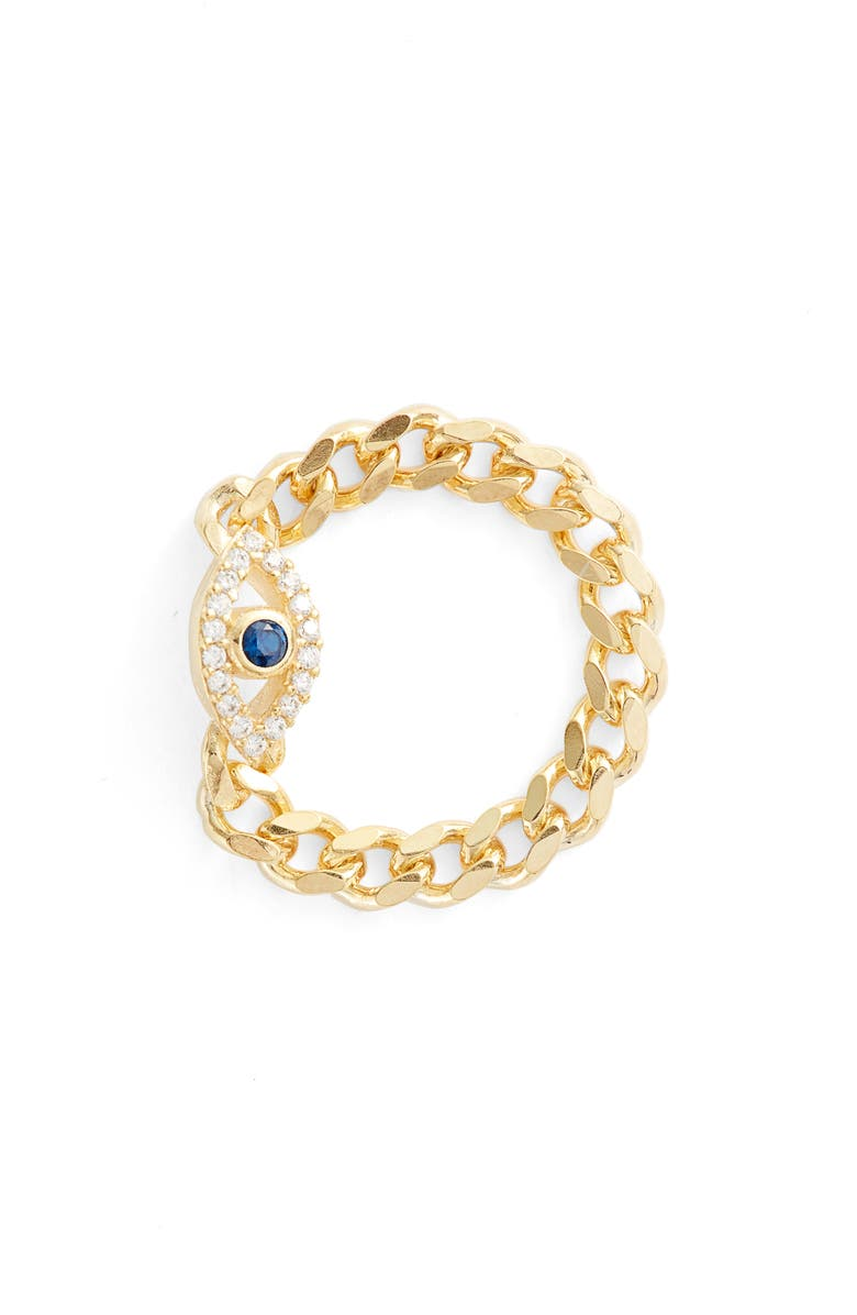 ARGENTO VIVO STERLING SILVER Cubic Zirconia Evil Eye Chain Link Ring, Main, color, Gold