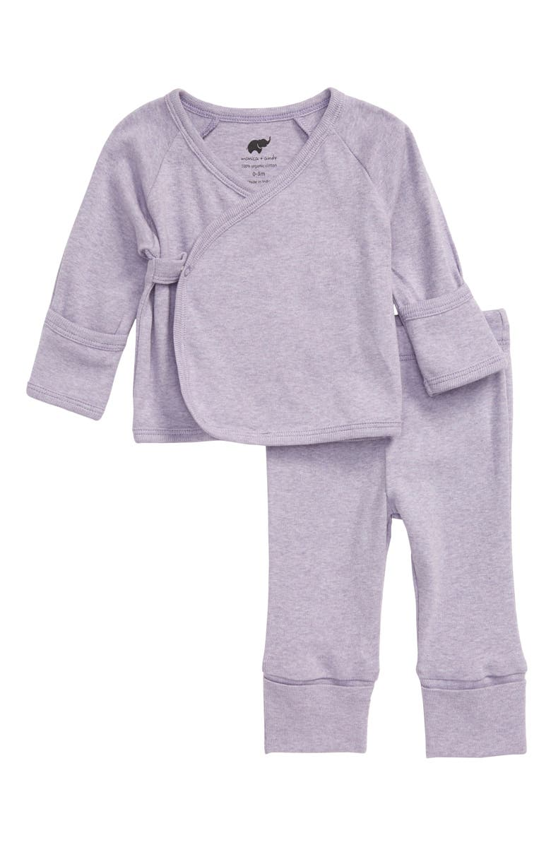 MONICA + ANDY Hello Baby Wrap Top & Pants Set, Main, color, 500