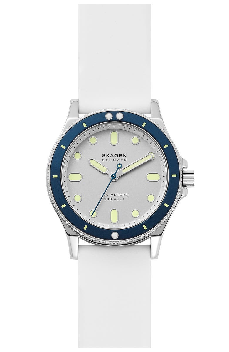 SKAGEN Women's Fisk 3-Hand White Silicone Watch, 38mm, Main, color, STAINLESS STEEL