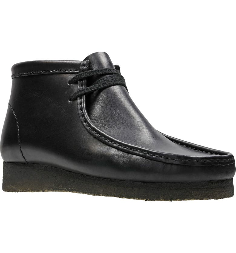 CLARKS<SUP>®</SUP> Wallabee Chukka Boot, Main, color, BLACK LEATHER