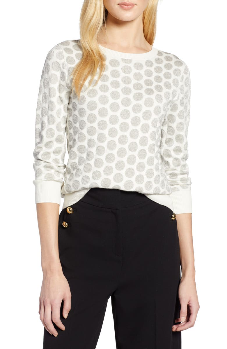 HALOGEN<SUP>®</SUP> x Atlantic-Pacific Shimmer Dot Sweater, Main, color, 900