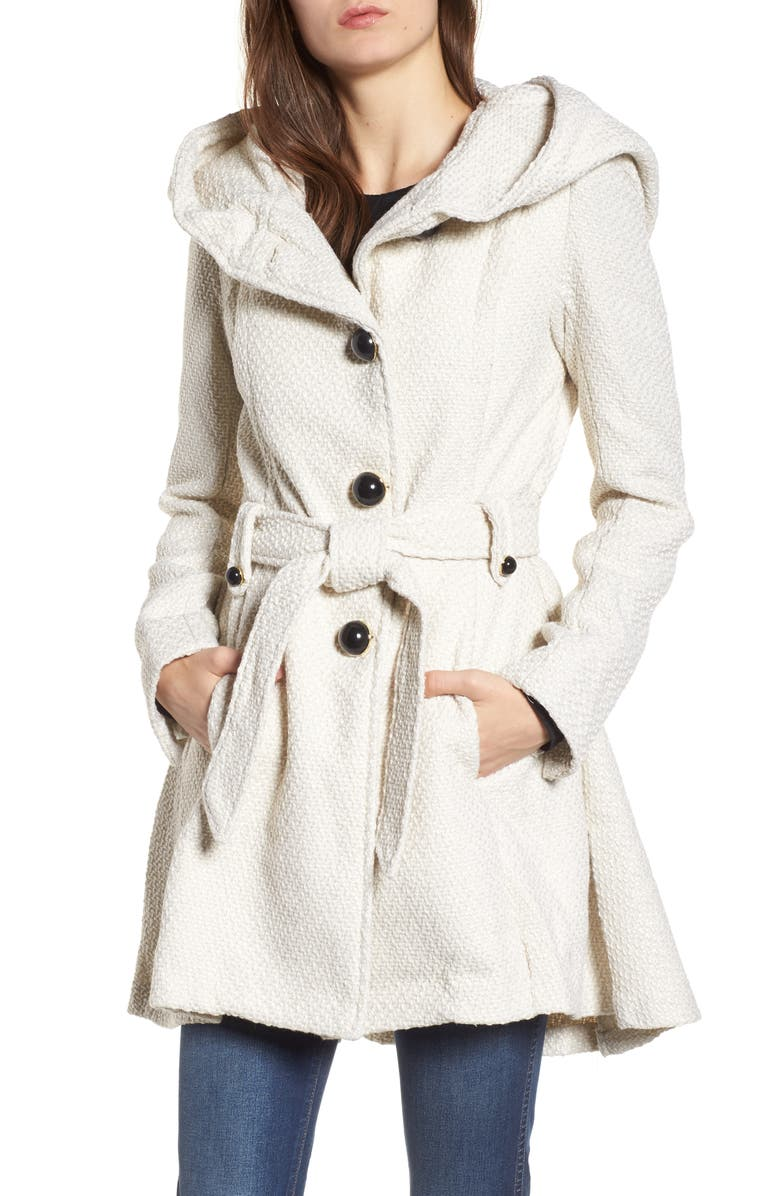 STEVE MADDEN Belted Hooded Skirted Coat, Main, color, 902
