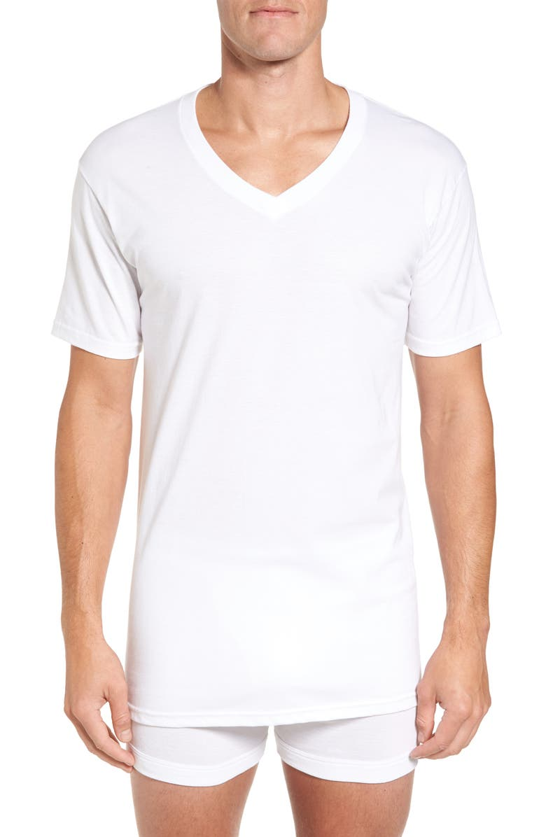 NORDSTROM 4-Pack Regular Fit Supima<sup>®</sup> Cotton V-Neck T-Shirts, Main, color, WHITE