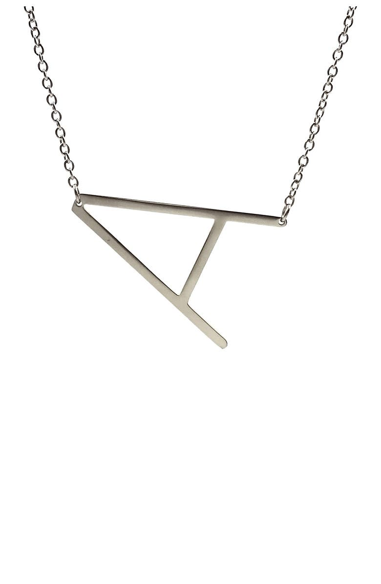 SAVVY CIE JEWELS Rhodium Plated Initial Necklace - Multiple Letters Available, Main, color, WHITE