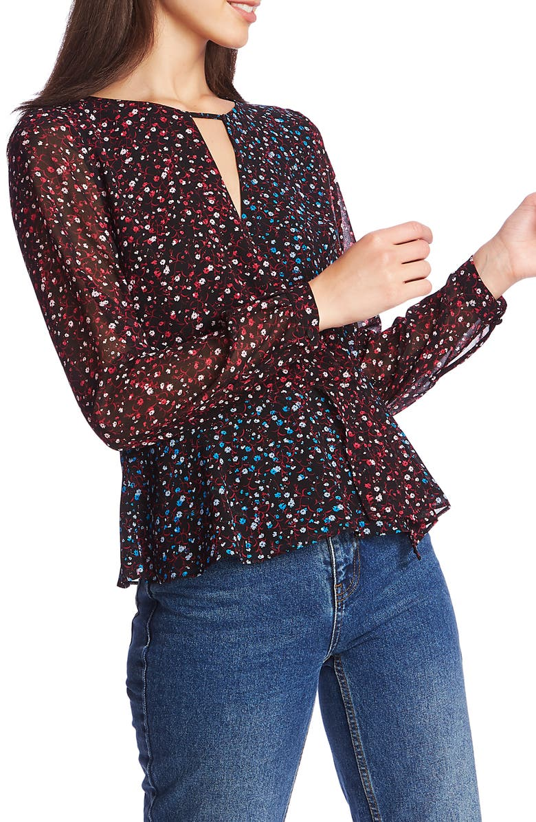 1.STATE Floral Ditsy Cross Front Peplum Blouse, Main, color, 650