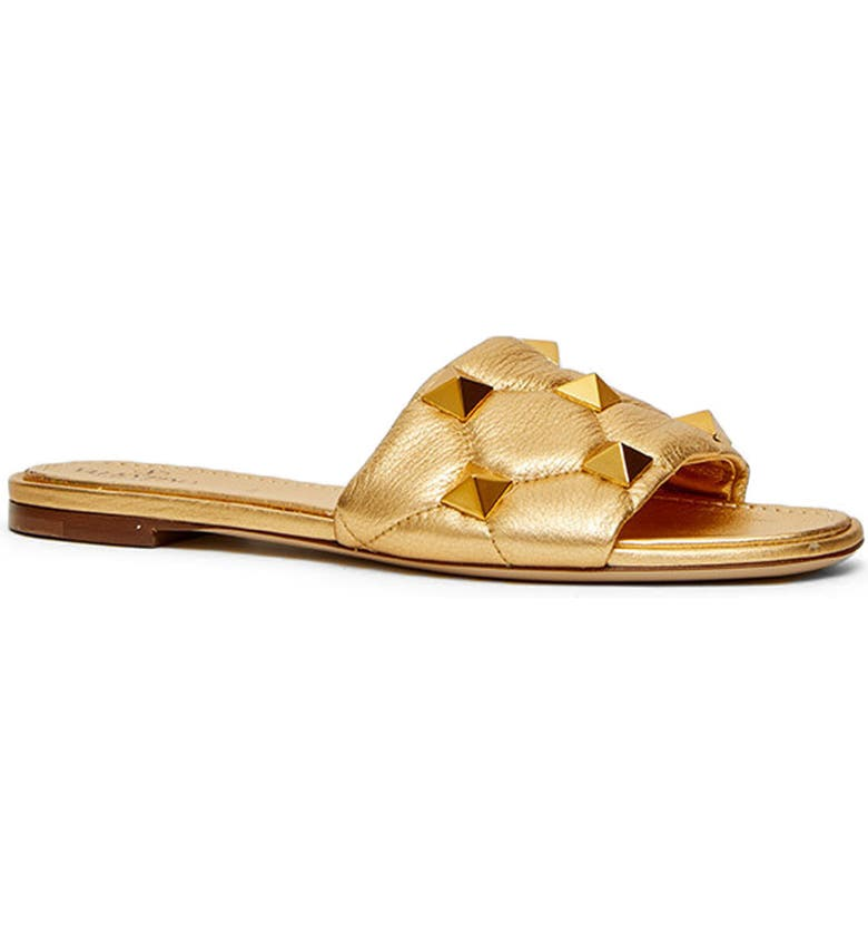 VALENTINO GARAVANI Roman Stud Matelassé Slide Sandal, Main, color, ANTIQUE BRASS