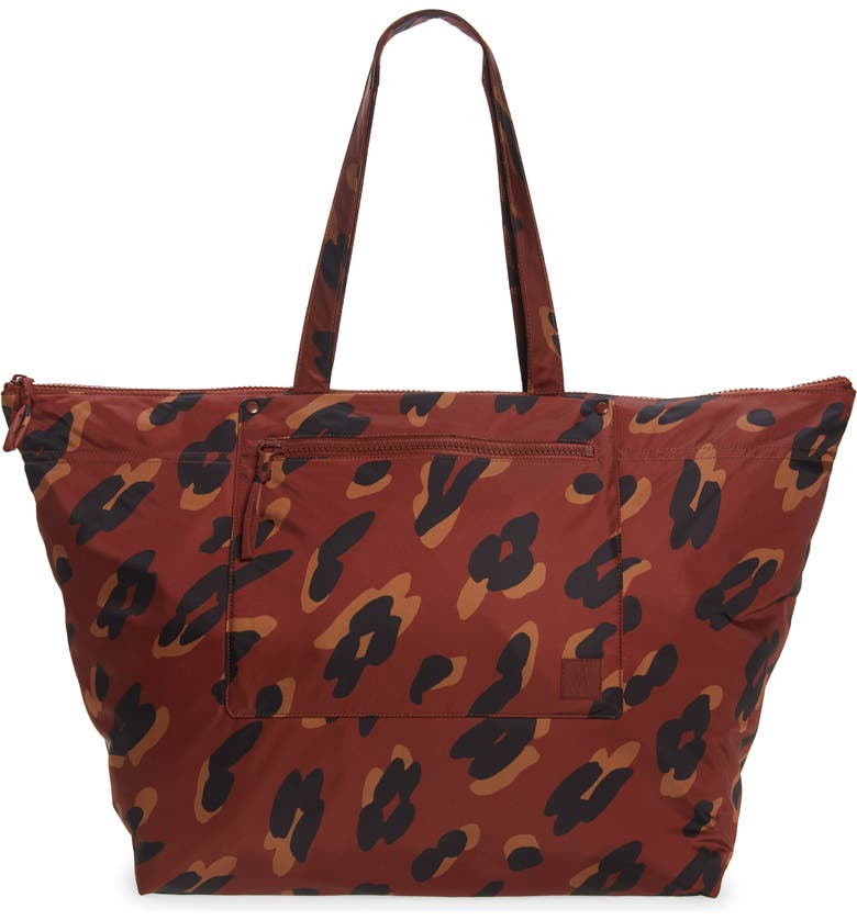 MADEWELL The (Re)sourced Painted Leopard Weekend Bag, Main, color, STAINED MAHOGANY MULTI