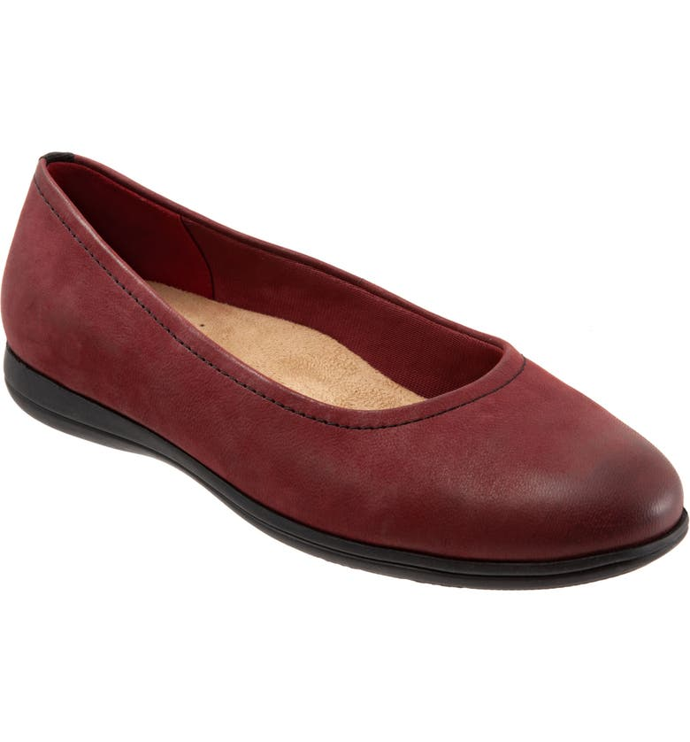 TROTTERS Darcey Skimmer Flat, Main, color, DARK RED LEATHER