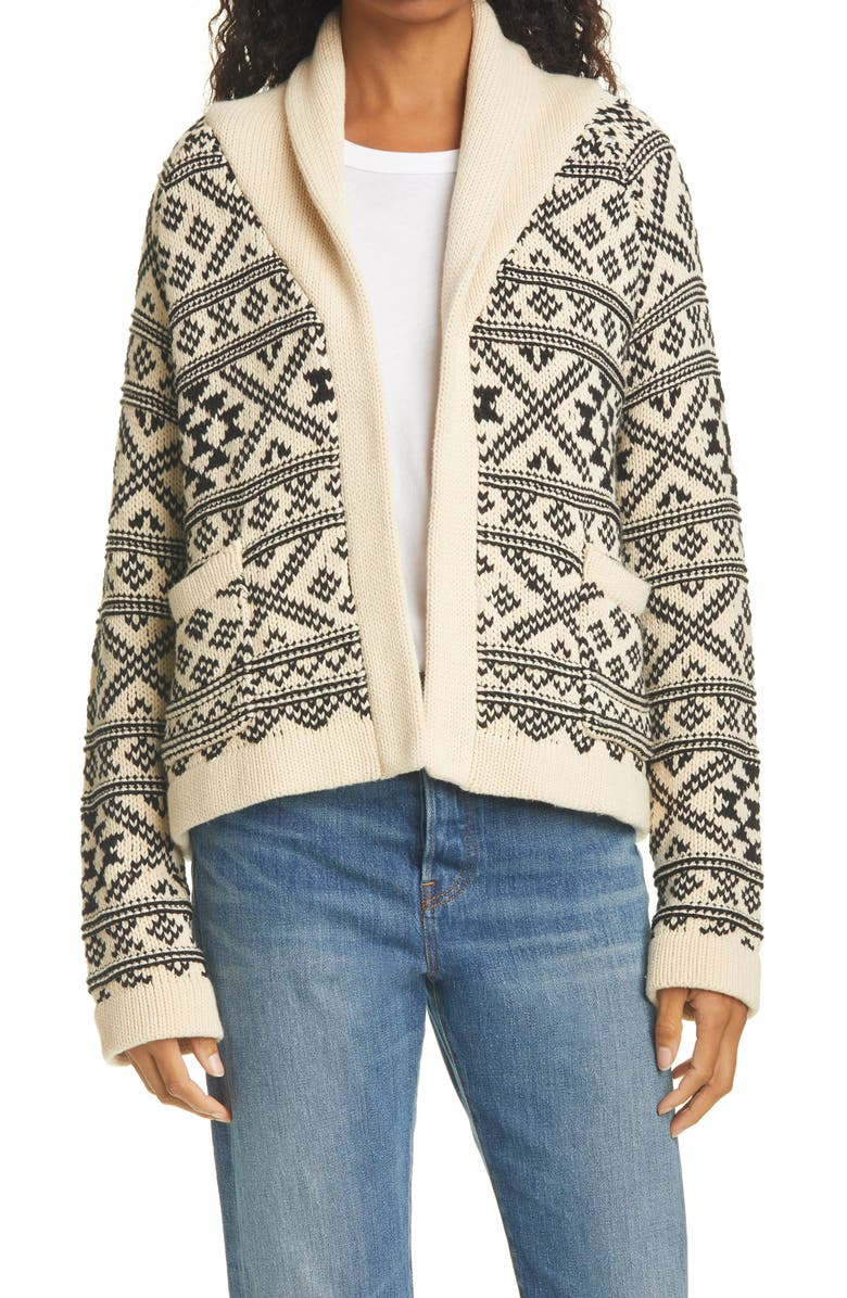THE GREAT. Lodge Fair Isle Open Front Cardigan, Main, color, 900