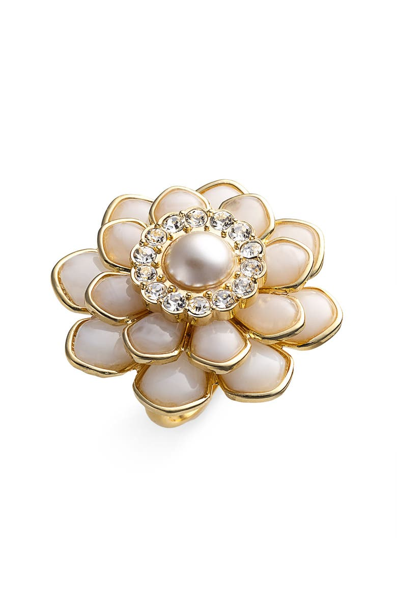 KATE SPADE NEW YORK 'sweet zinnia' oversized floral ring, Main, color, 900