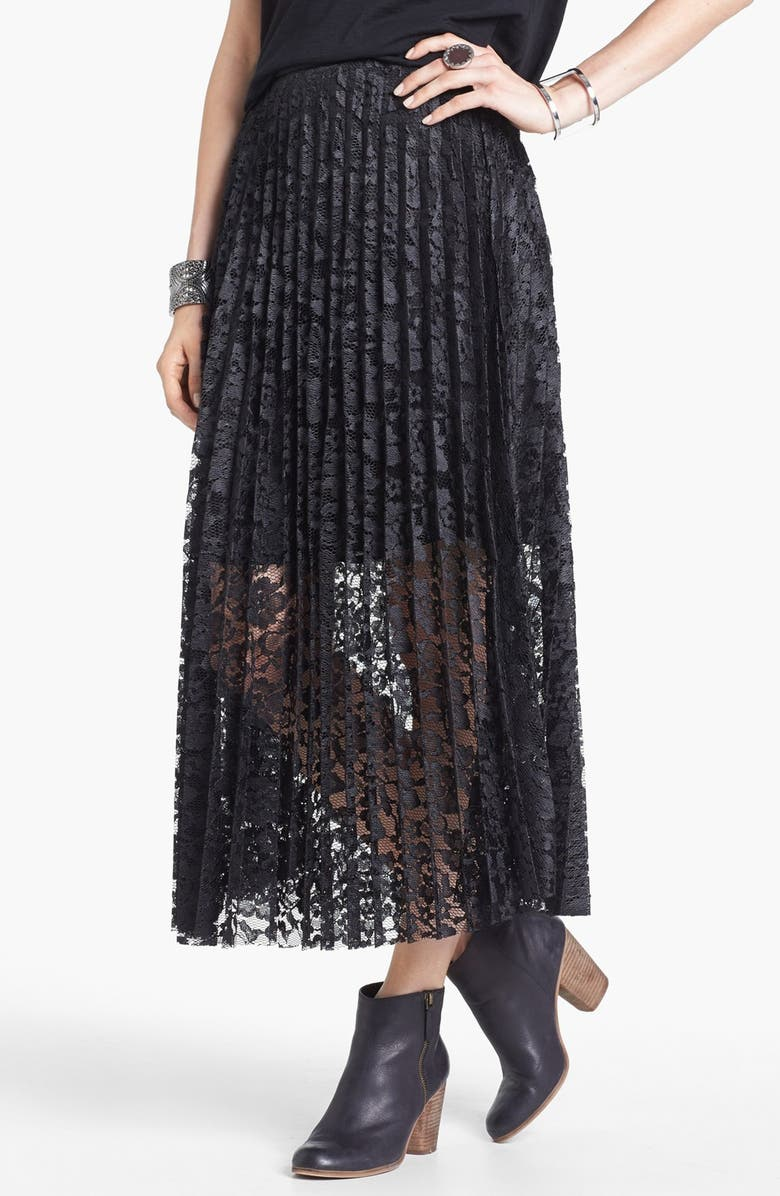 FREE PEOPLE Knife Pleat Lace Maxi Skirt, Main, color, 001