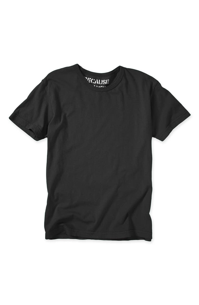 BECAUSE WE WERE BORED Solid Crewneck T-Shirt, Main, color, BLACK