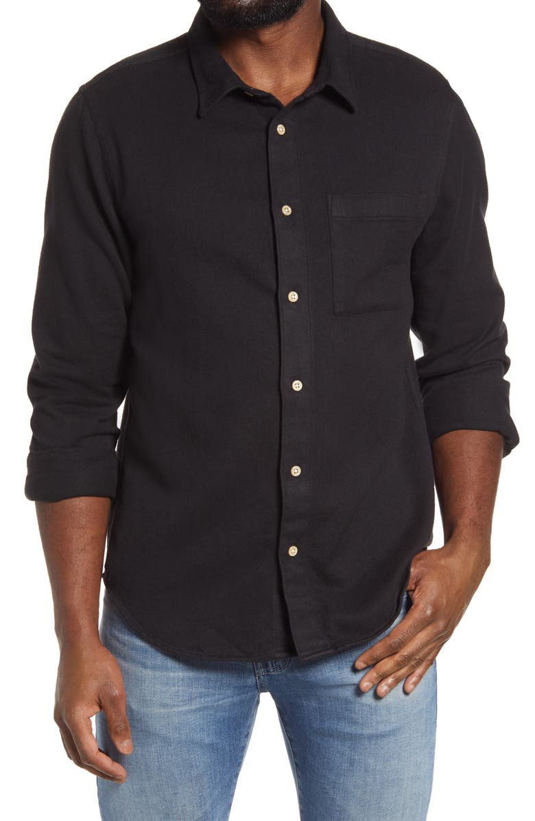 MADEWELL Flannel Sunday Shirt, Main, color, ALMOST BLACK