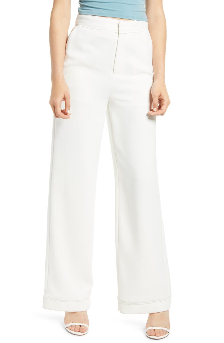 ENDLESS ROSE Crepe Wide Leg Trousers, Main, color, WHITE