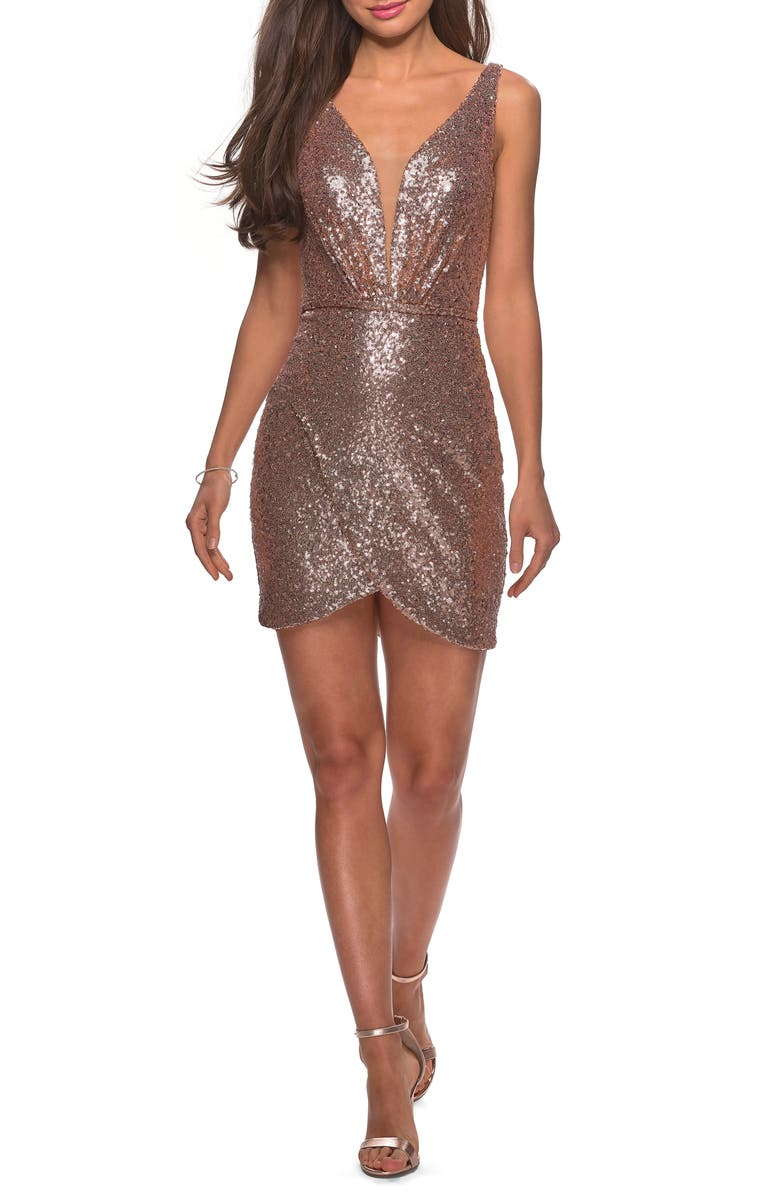 LA FEMME Deep V Sequin Minidress, Main, color, ROSE GOLD