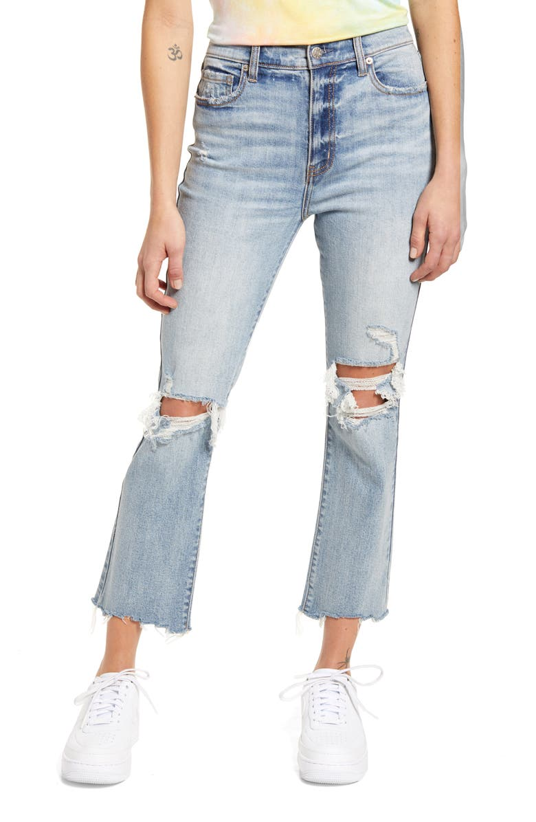 DAZE Shy Girl Ripped High Waist Crop Flare Jeans, Main, color, 451