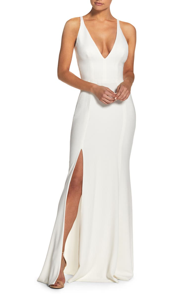 DRESS THE POPULATION Iris Crepe Trumpet Gown, Main, color, OFF WHITE