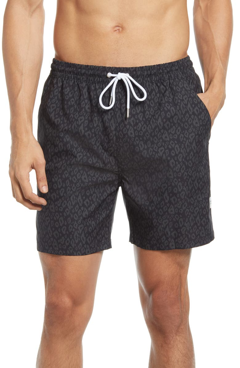 PUBLIC ART Men's Animal Print Swim Trunks, Main, color, BLACK