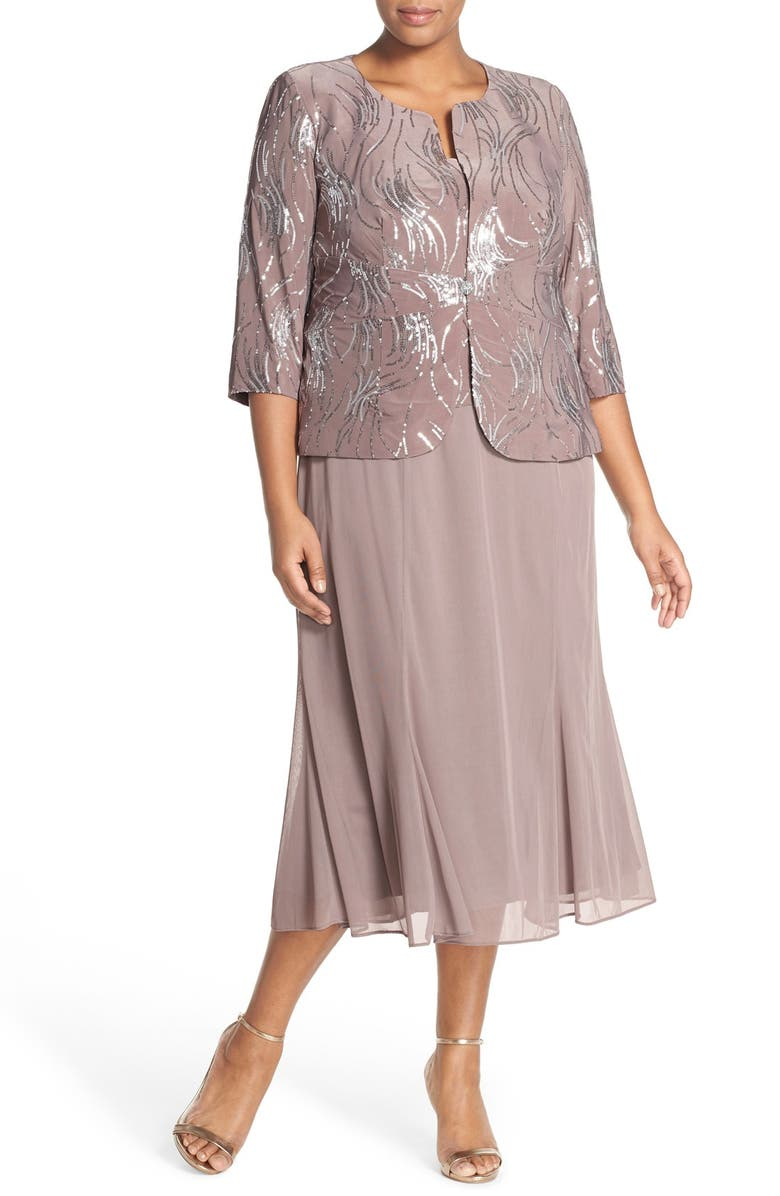 ALEX EVENINGS Sequin Mock Two-Piece Dress with Jacket, Main, color, PEWTER FROST