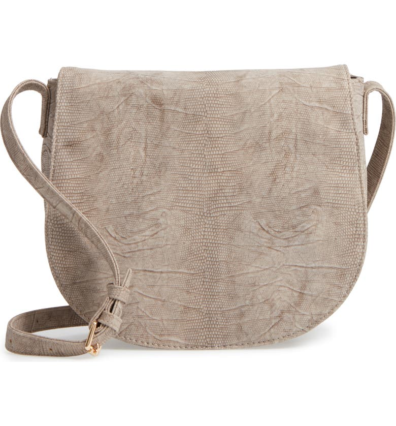 SOLE SOCIETY Livvy Faux Leather Crossbody Saddle Bag, Main, color, TAUPE