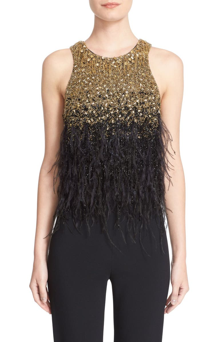 BADGLEY MISCHKA COUTURE Feather Embellished Beaded Sleeveless Top, Main, color, BLACK/ GOLD