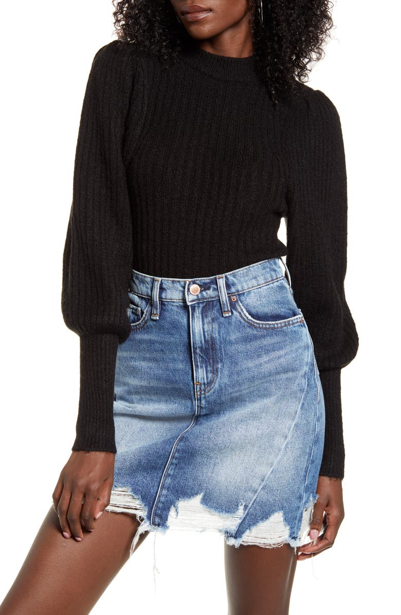 LEITH Juliet Sleeve Sweater, Main, color, 001