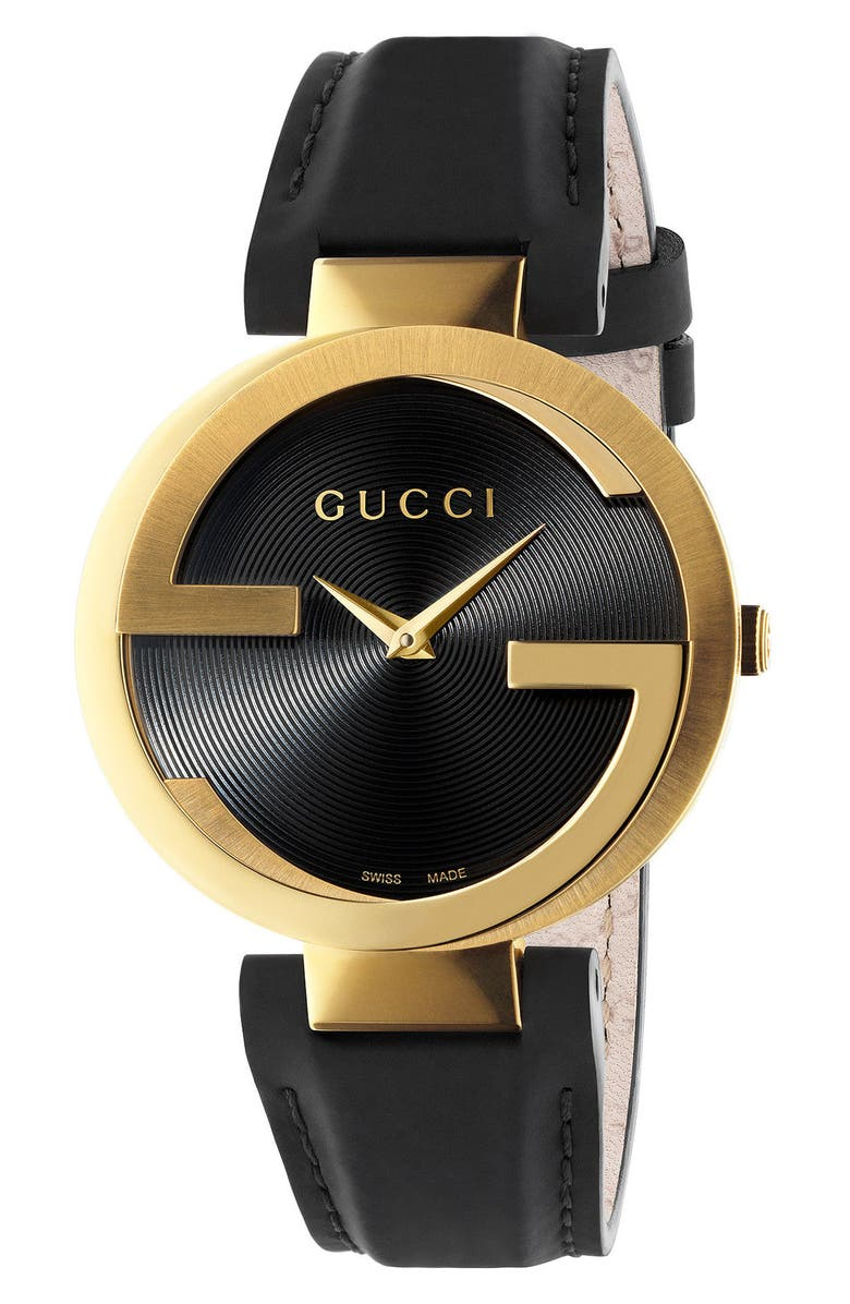 GUCCI Interlocking G Leather Strap Watch, 37mm, Main, color, BLACK/ GOLD