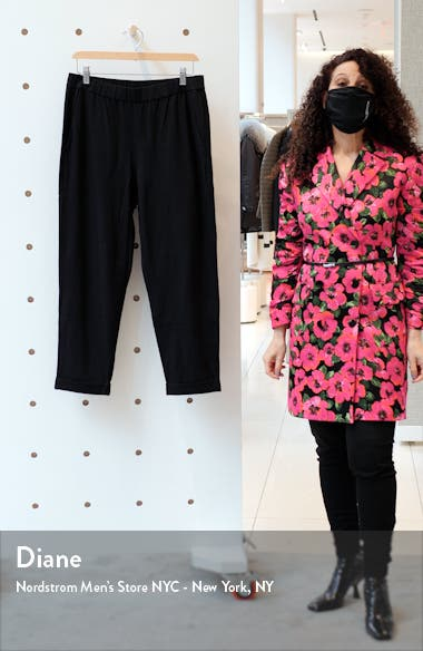 Rolled Cuff Slim Jersey Crop Pants, sales video thumbnail