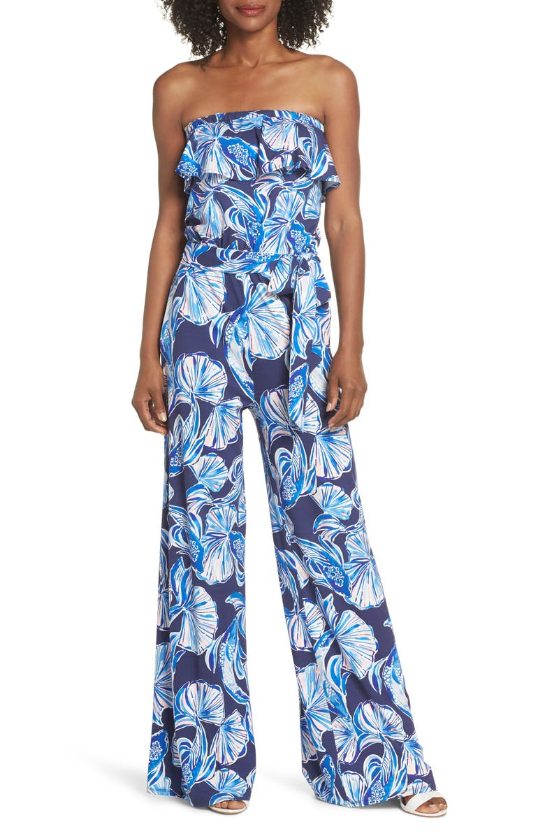 LILLY PULITZER<SUP>®</SUP> Aleatha Strapless Jumpsuit, Main, color, 410