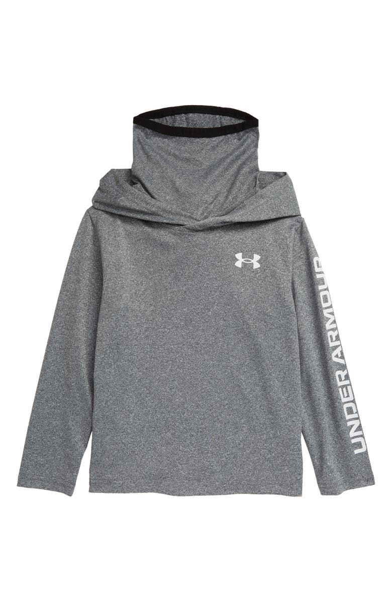 UNDER ARMOUR Kids' Twist Extended Funnel Neck Hoodie, Main, color, PITCH GRAY TWIST
