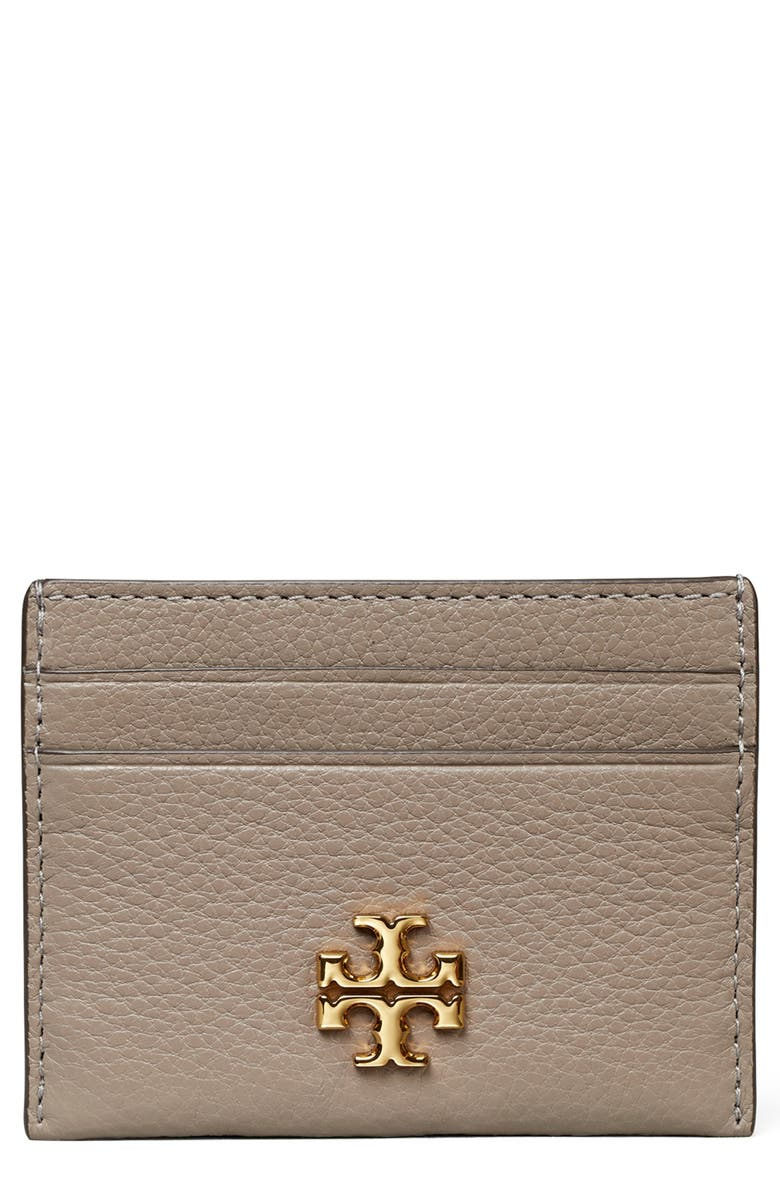TORY BURCH Kira Pebbled Leather Card Case, Main, color, GRAY HERON