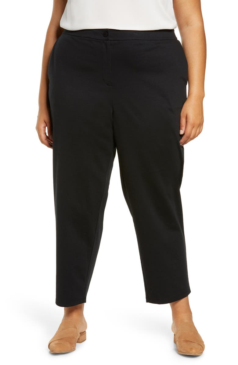 EILEEN FISHER Slouchy Ankle Ponte Knit Pants, Main, color, BLACK
